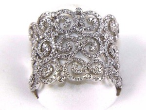 Other Round Diamond Cluster Filigree Spiral Ring Band 14K White Gold .98Ct