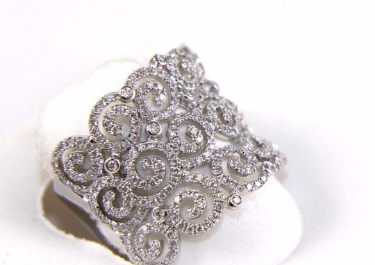 Other Round Diamond Cluster Filigree Spiral Ring Band 14K White Gold .98Ct Image 1