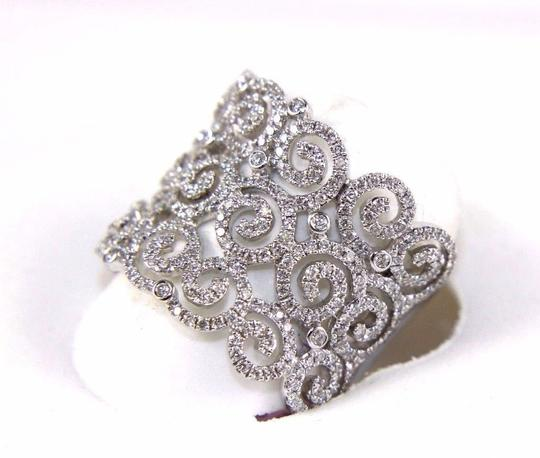 Other Round Diamond Cluster Filigree Spiral Ring Band 14K White Gold .98Ct Image 2