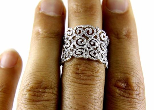 Other Round Diamond Cluster Filigree Spiral Ring Band 14K White Gold .98Ct Image 4