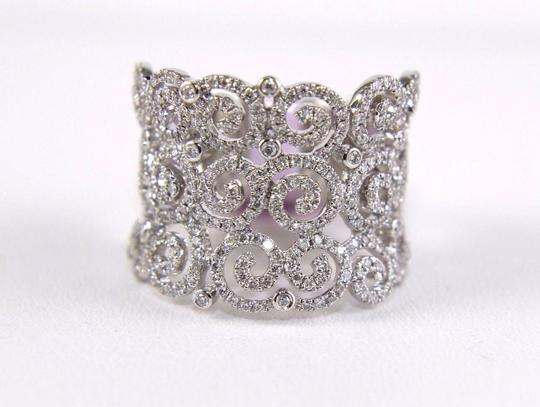 Other Round Diamond Cluster Filigree Spiral Ring Band 14K White Gold .98Ct Image 5
