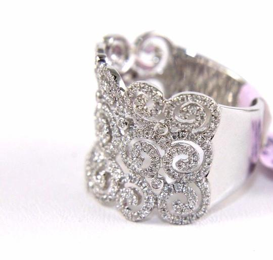 Other Round Diamond Cluster Filigree Spiral Ring Band 14K White Gold .98Ct Image 6