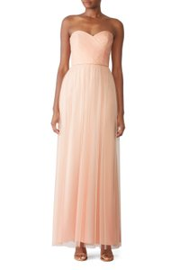 Amsale Blush Chiffon Add To Hearts Strapless Gown Formal Wedding Dress Size 12 (L)