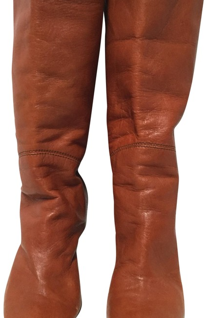 Item - Orange Leather Stacked Boots/Booties Size EU 39.5 (Approx. US 9.5) Regular (M, B)