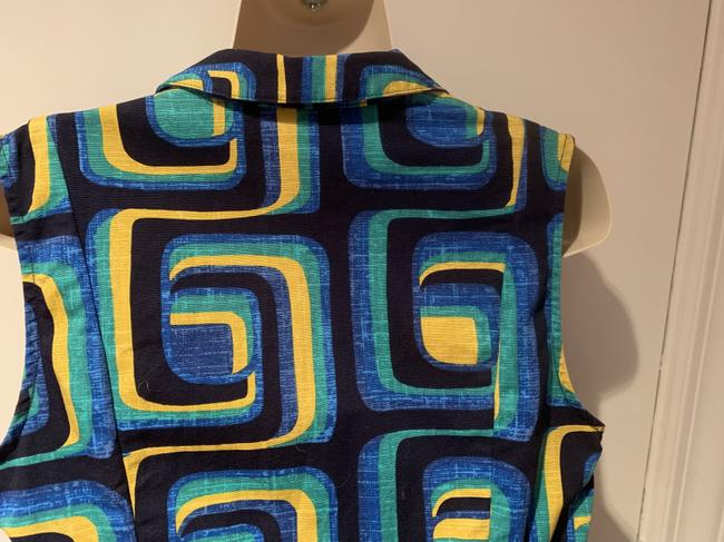 Boden short dress blue, green yellow Shirtdress Sleeveless Geometric Retro 1960's on Tradesy Image 5