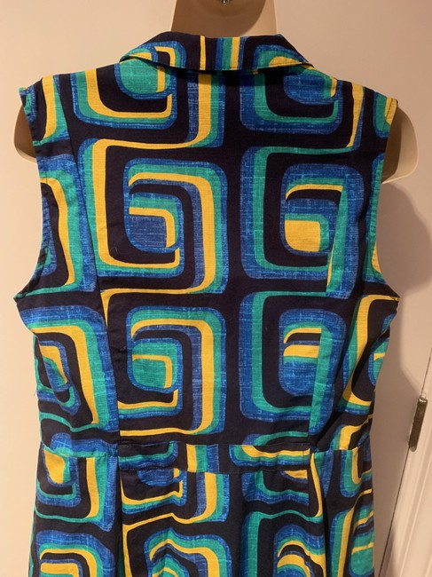Boden short dress blue, green yellow Shirtdress Sleeveless Geometric Retro 1960's on Tradesy Image 6