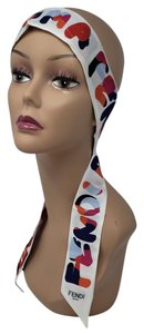 Fendi White multicolor Fendi Karl monogram silk twilly