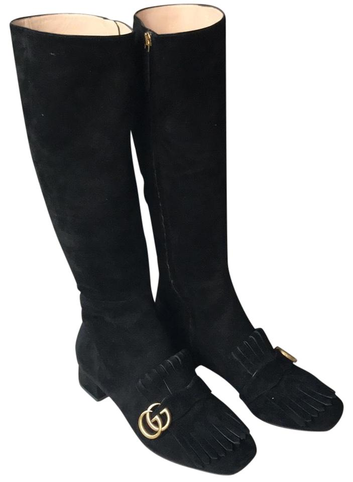 8c30abe8c Gucci Black Marmont Gg Suede Knee-high Boots/Booties Size EU 39.5 ...