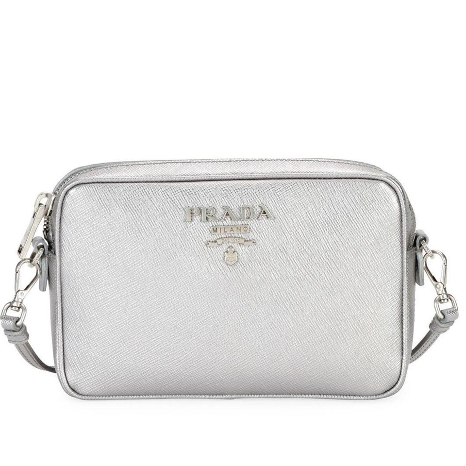9fe0befd1b55 Prada Camera Silver Saffiano Leather Cross Body Bag - Tradesy
