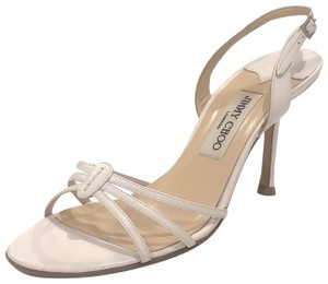 Jimmy Choo Silver Hardware Strappy Mid-heel White Sandals