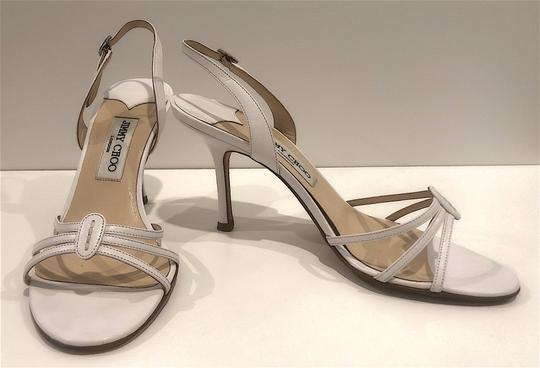 Jimmy Choo Silver Hardware Strappy Mid-heel White Sandals Image 1