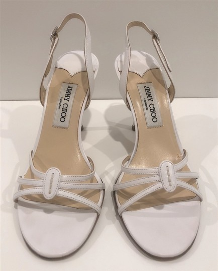 Jimmy Choo Silver Hardware Strappy Mid-heel White Sandals Image 2