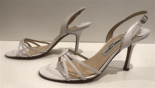 Jimmy Choo Silver Hardware Strappy Mid-heel White Sandals Image 3