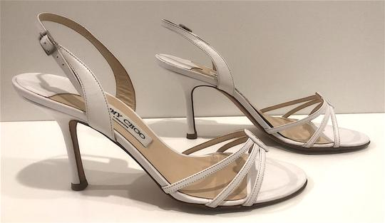 Jimmy Choo Silver Hardware Strappy Mid-heel White Sandals Image 4