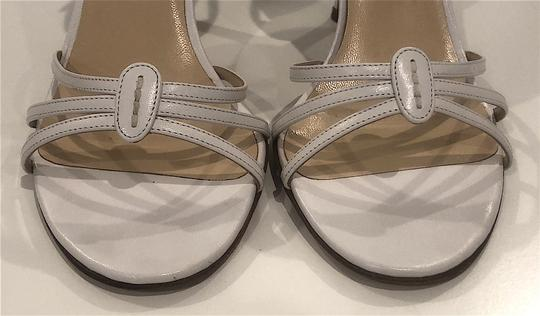 Jimmy Choo Silver Hardware Strappy Mid-heel White Sandals Image 5