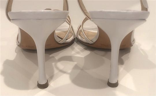Jimmy Choo Silver Hardware Strappy Mid-heel White Sandals Image 6