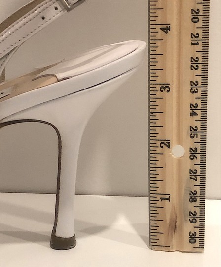 Jimmy Choo Silver Hardware Strappy Mid-heel White Sandals Image 7