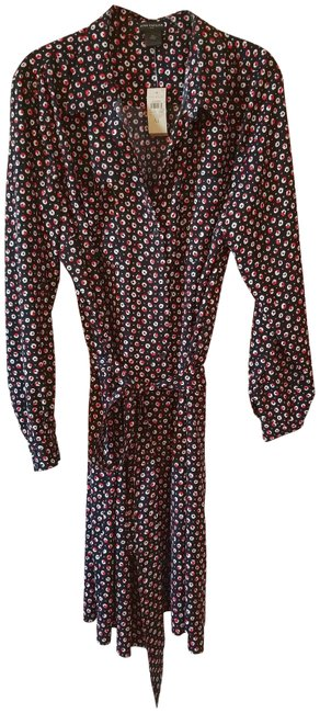 Item - Black Red White XL Floral Button-down Mid-length Work/Office Dress Size 16 (XL, Plus 0x)