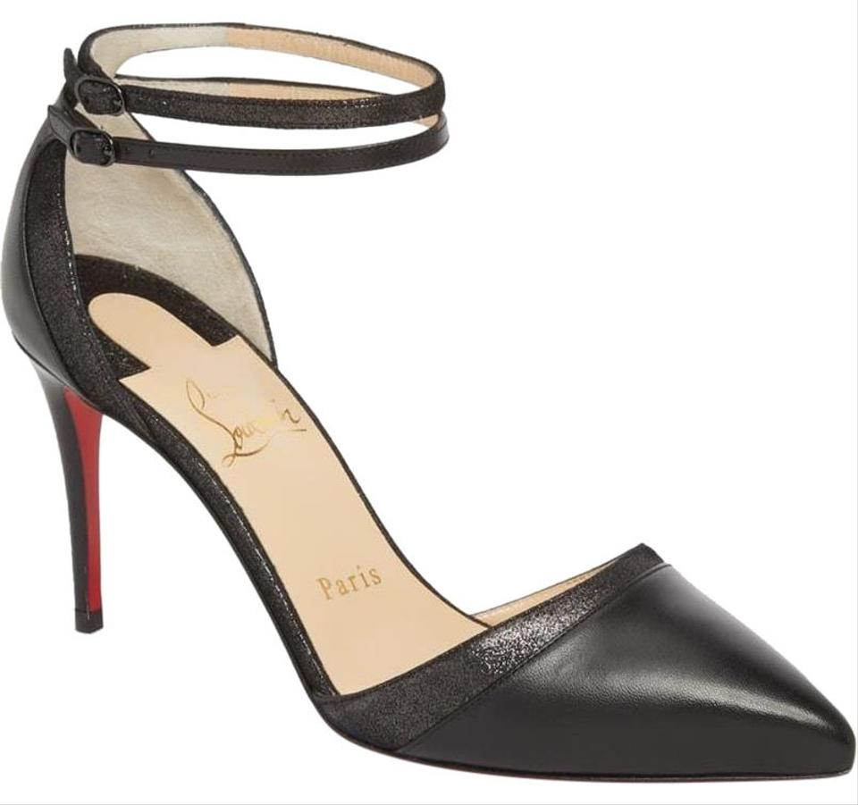 5c38d6827b04 Christian Louboutin Black Uptown Double 85 Leather Ankle Strap Pumps Sandals