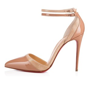 Christian Louboutin Heels Uptown Ankle Strap Patent Leather Nude Sandals