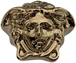 Versace VERSACE Large Medusa Head Logo Gold Tone Statement Ring