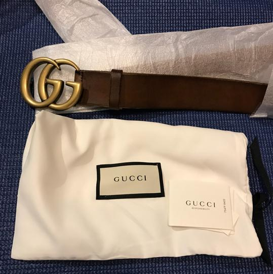 Gucci Marmont 100 double Gg Buckle Unfinished Leather Gold