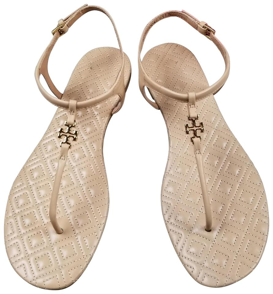 b15034bb8513 Tory Burch Nude Marion Veg Leather Quilted Thong Toe Sandals Size US ...
