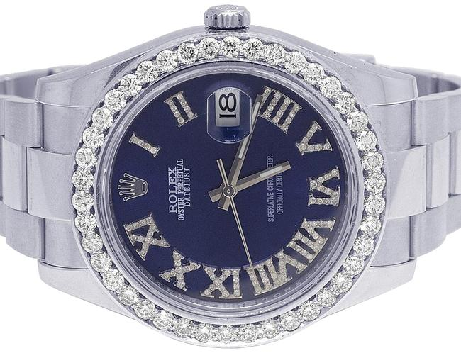 Rolex Stainless Steel Mens Datejust Il 116300 41mm Blue Dial Diamond 4.0 Ct Watch Rolex Stainless Steel Mens Datejust Il 116300 41mm Blue Dial Diamond 4.0 Ct Watch Image 1