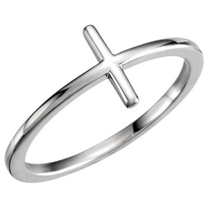 Apples of Gold PLAIN 14K WHITE GOLD CROSS RING FOR WOMEN