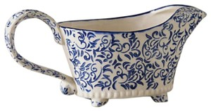 Anthropologie Blue Delft Gravy Boat Serverware