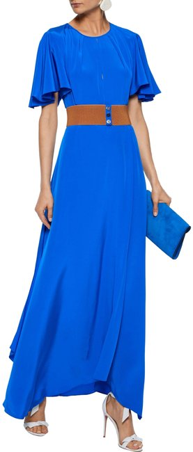 Item - Bright Blue Dvf Belted Cutout Silk Long Casual Maxi Dress Size 8 (M)