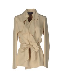 Ralph Lauren Collection Ruffled Silk Wrap Beige Jacket