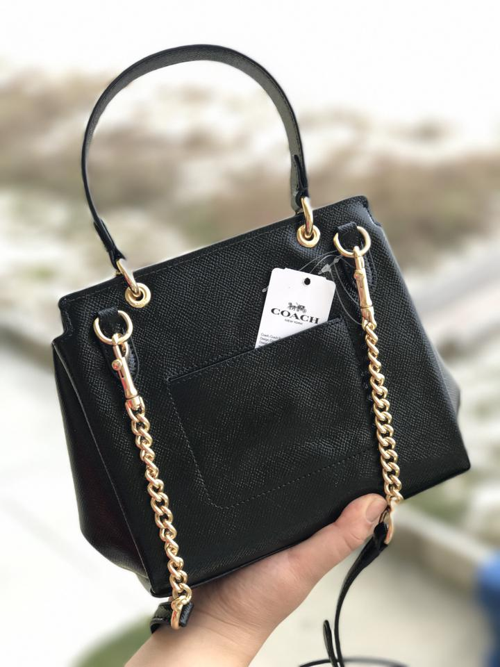 c567b71d371 Coach Small Patent Crossgrain Avary Black Leather Cross Body Bag 60% off  retail