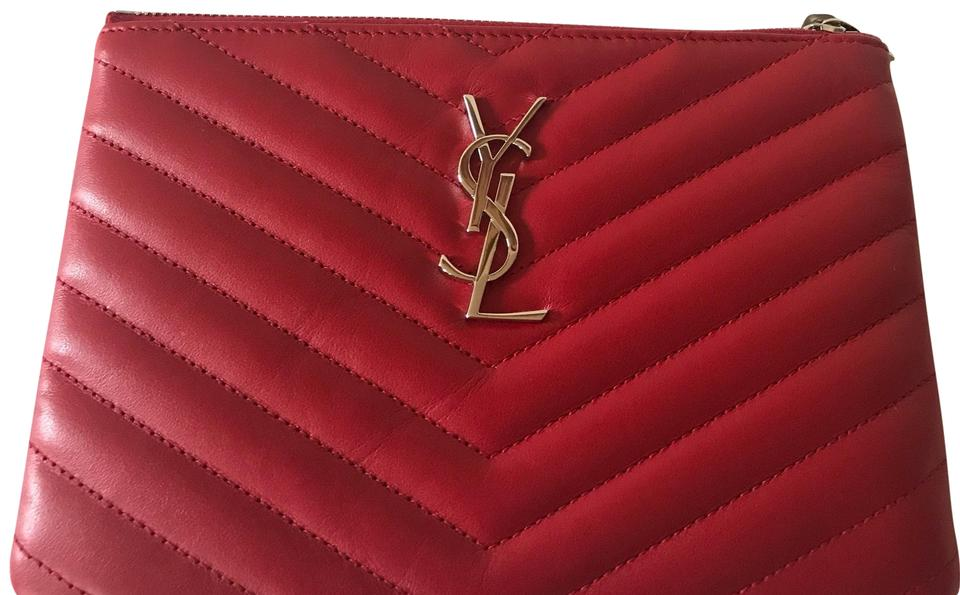 c0bb9312a4f Saint Laurent Monogram Ysl Small Chevron Quilted Zip-top Pouch ...