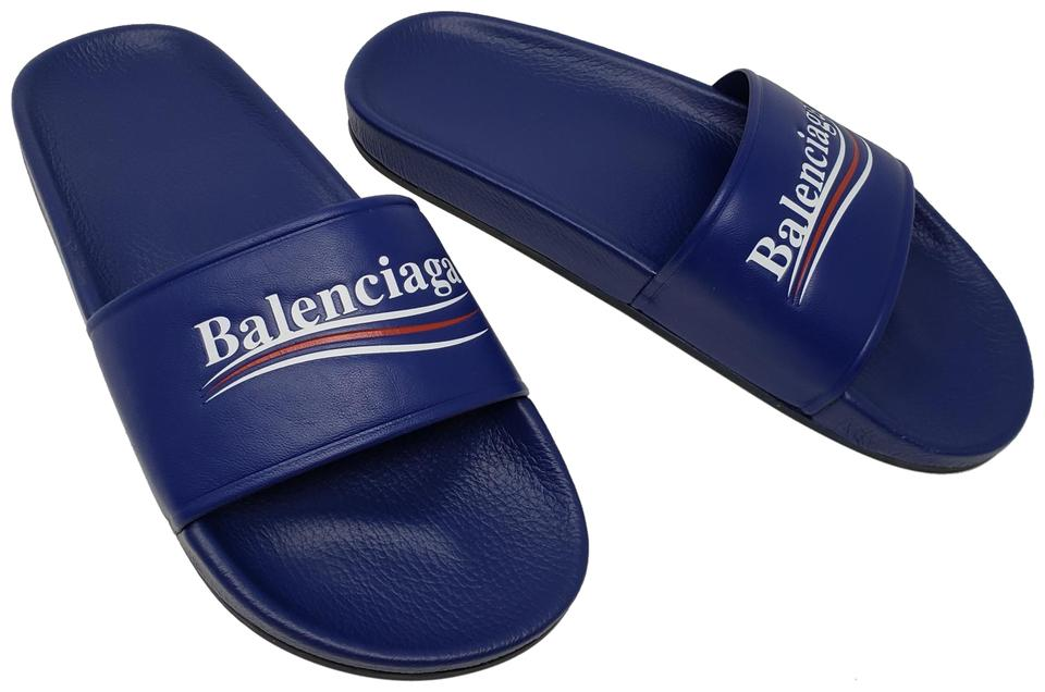 50bf3177cf89 Balenciaga Blue Logo Flat Pool Slide Sandals Size EU 40 (Approx. US ...