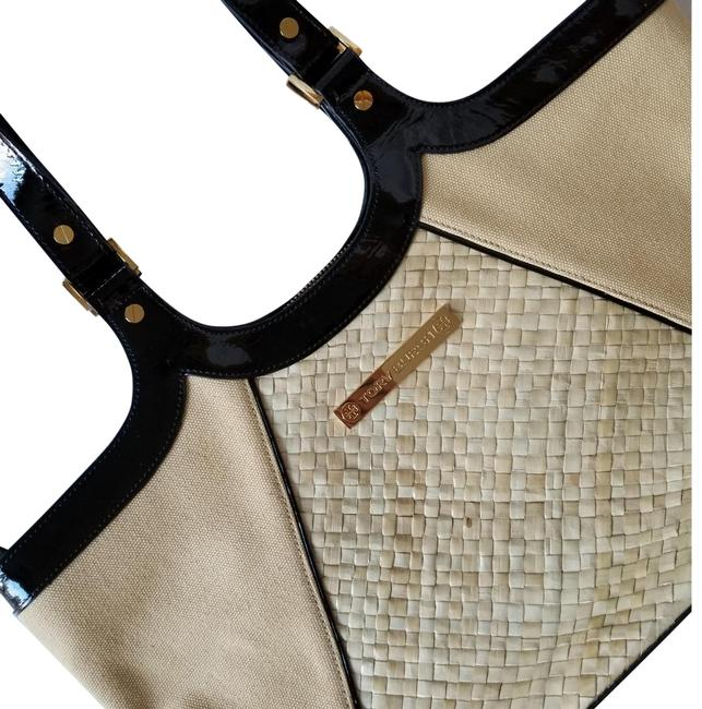 Item - Vintage Black and Tan Patent Leather Tote
