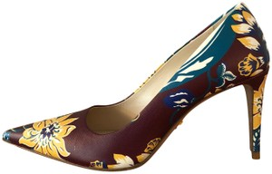 Prada Burgundy / Multi-color floral Pumps