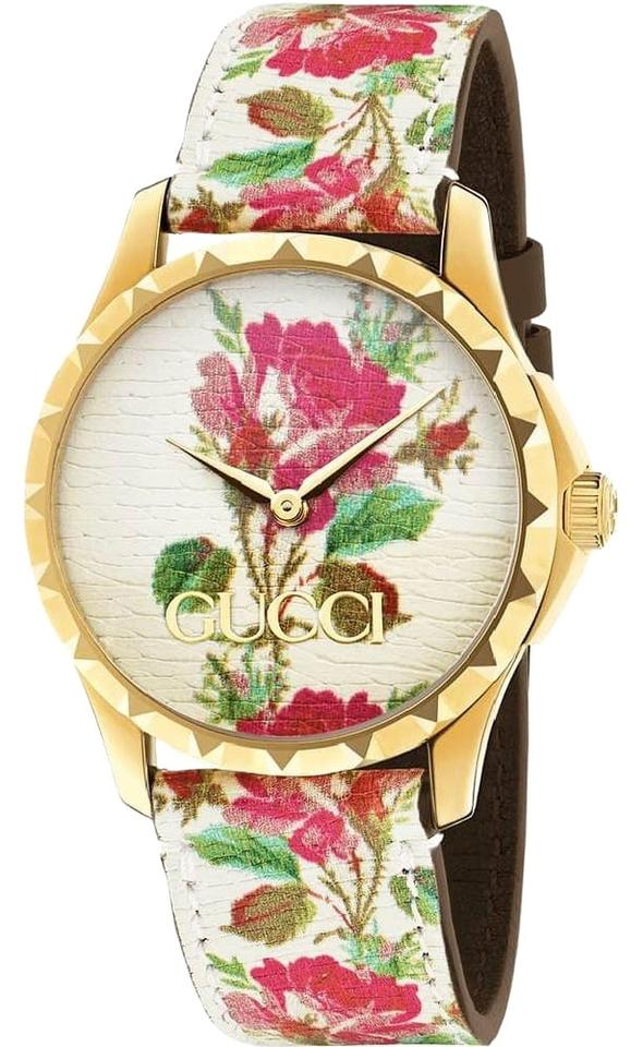 b4fbac6fe9d Gucci Beige G Timeless Floral Blooms Strap Print Dial Ya1264084 Watch