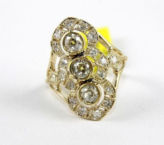 Other European Cut Diamond 3-Stone Long Cluster Ring 14k Yellow Gold 1.64Ct