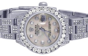 Rolex Ladies Datejust Oyster 26MM White MOP Dial Iced Out Diamond 11.75 Ct