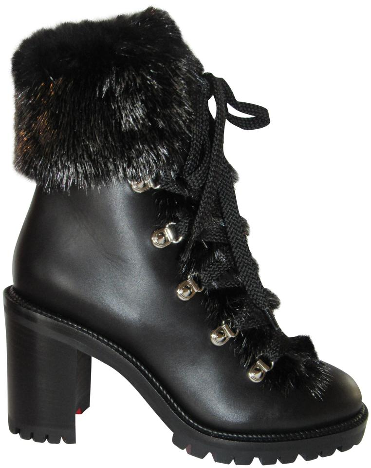e989553e38b Christian Louboutin Black New Fanny 70 Leather Mink Fur Lug Hiking Lace  Boots/Booties Size EU 36.5 (Approx. US 6.5) Regular (M, B) 22% off retail