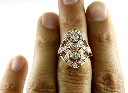 Other Round Cut Diamond 3-Stone Long Cluster Cocktail Ring 14k RG 1.60Ct