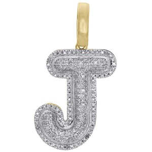 Jewelry For Less Round Diamond J Initial Bubble Letter Pendant Pave Dome Charm 0.33 CT.