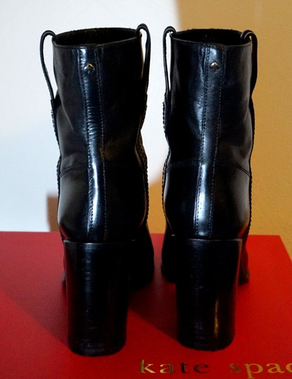 Kate Spade Leather Pull On Ankle Heel Black Boots