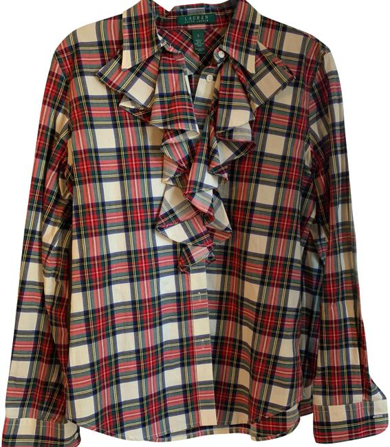 Preload https://img-static.tradesy.com/item/24602477/lauren-ralph-lauren-red-white-and-green-41381-button-down-top-size-4-s-0-1-650-650.jpg