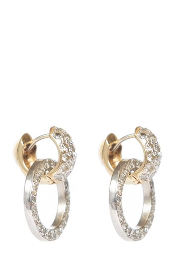 Other Silver and Gold Hoop Diamond Earrings
