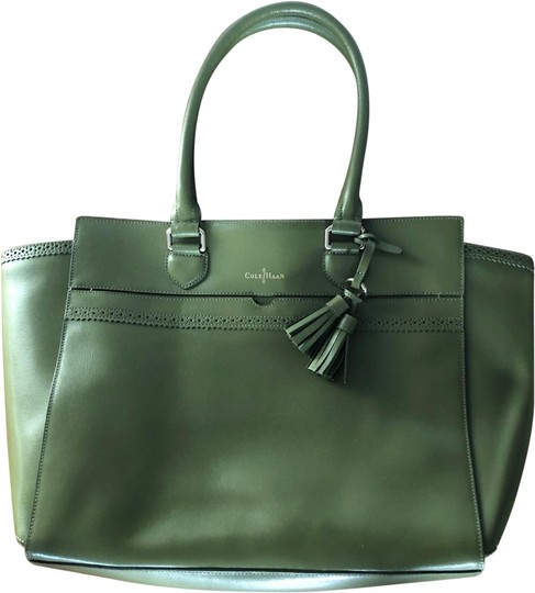 Preload https://img-static.tradesy.com/item/24602679/cole-haan-moss-green-leather-tote-0-1-540-540.jpg