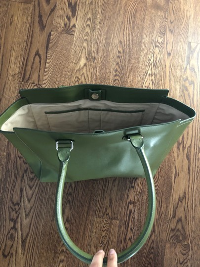 Cole Haan Leather Tote in Moss Green