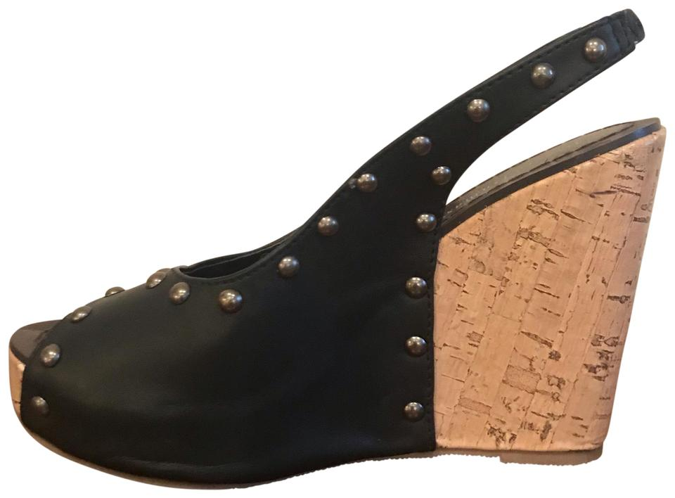 3592ebcd4b1d Pierre Dumas Black and Cork Leather Stuffed Wedges. Size  US 5 Regular (M  ...