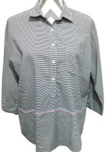 J.Crew Stripes Tab Sleeves 3/4 Sleeves Button Down Shirt Black & White